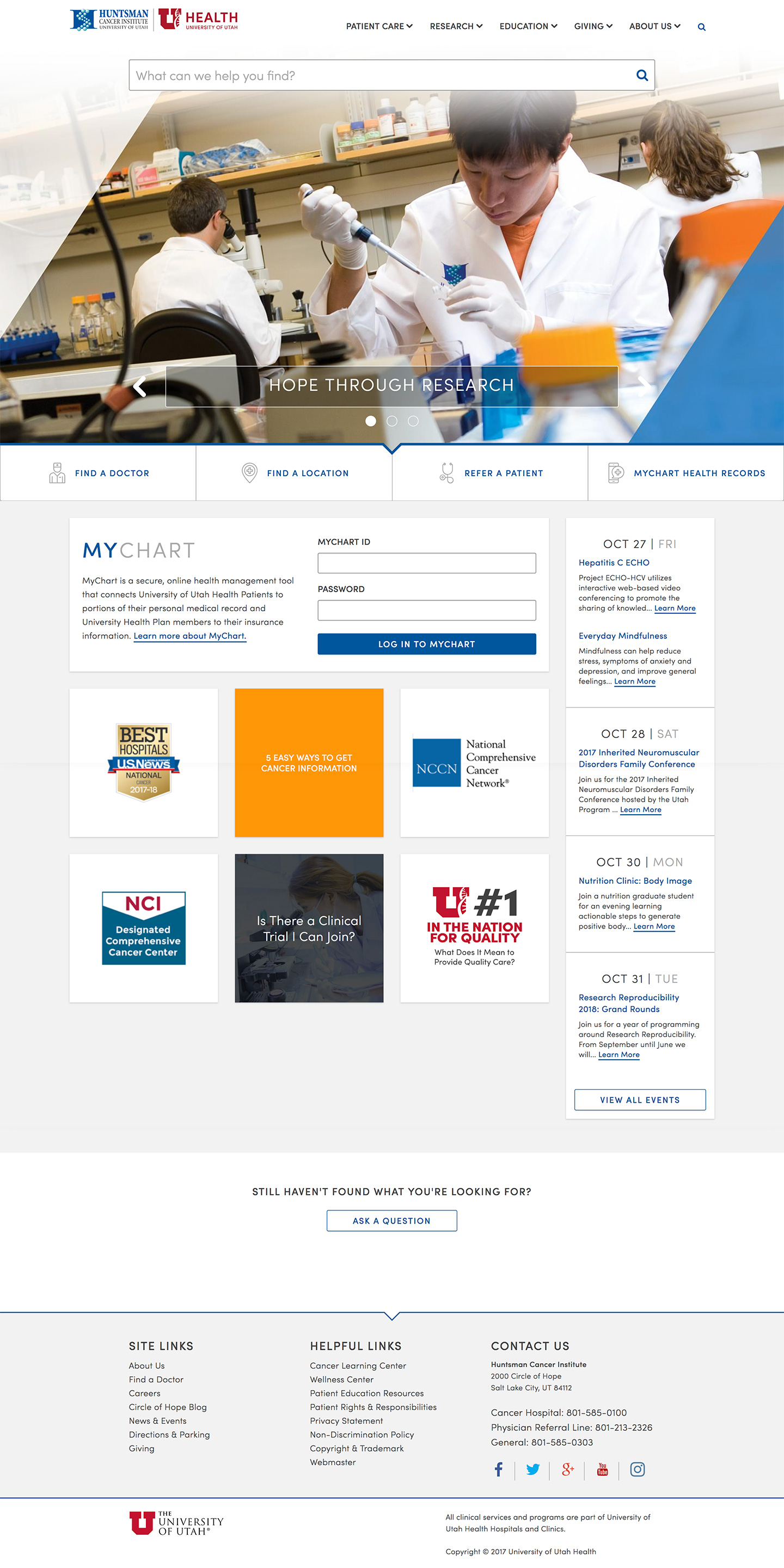 Huntsman Cancer Institute Homepage