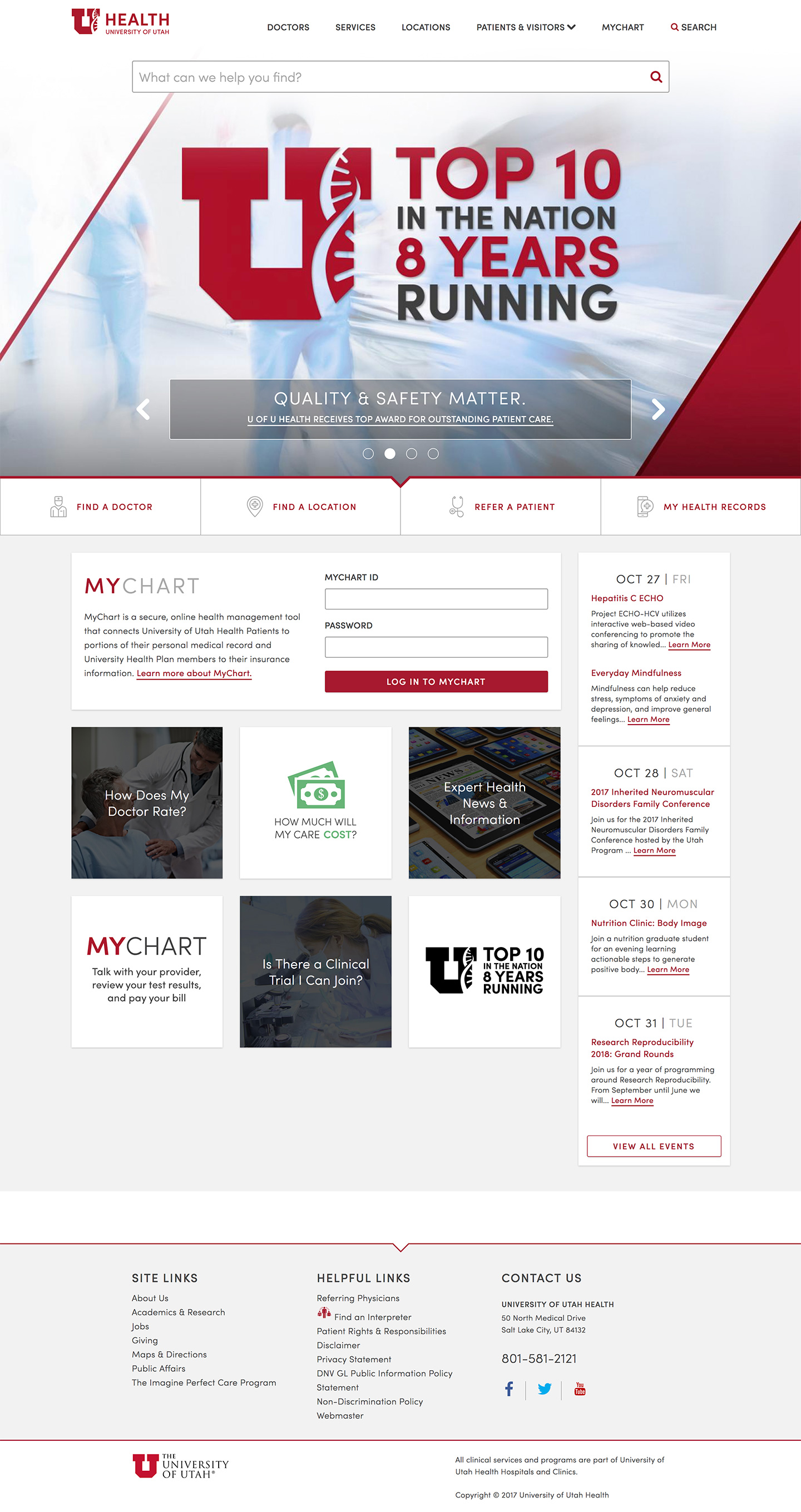 University of Utah Health Homepage